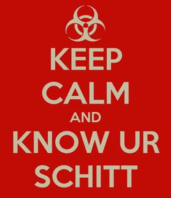Poster: KEEP CALM AND KNOW UR SCHITT