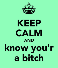 Poster: KEEP CALM AND know you'r a bitch