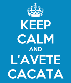 Poster: KEEP CALM AND L'AVETE CACATA