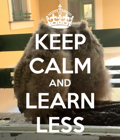 Poster: KEEP CALM AND LEARN LESS