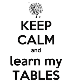 Poster: KEEP CALM and learn my TABLES