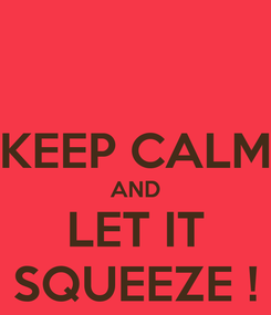 Poster:  KEEP CALM AND LET IT SQUEEZE !