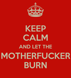 Poster: KEEP CALM AND LET THE MOTHERFUCKER BURN