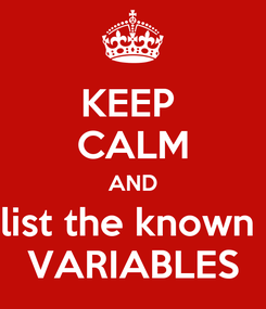 Poster: KEEP  CALM AND list the known  VARIABLES