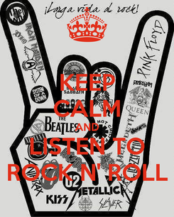 Poster: KEEP CALM AND LISTEN TO ROCK N' ROLL
