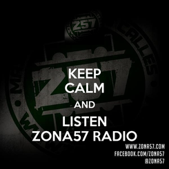 Poster: KEEP CALM AND LISTEN ZONA57 RADIO