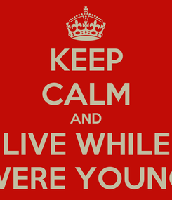 Poster: KEEP CALM AND LIVE WHILE WERE YOUNG