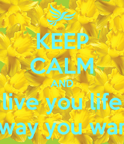 Poster: KEEP CALM AND live you life the way you want to