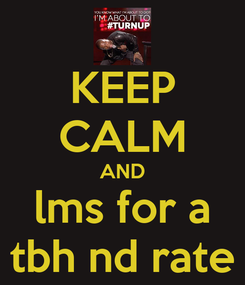 Poster: KEEP CALM AND lms for a tbh nd rate