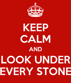 Poster: KEEP CALM AND LOOK UNDER EVERY STONE