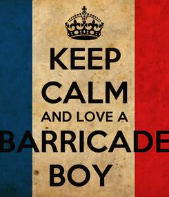 Poster: KEEP CALM AND LOVE A BARRICADE BOY