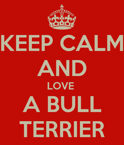 Poster: KEEP CALM AND LOVE  A BULL TERRIER