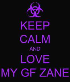 Poster: KEEP CALM AND LOVE MY GF ZANE