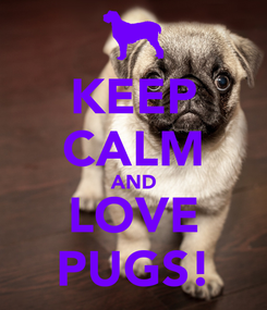 Poster: KEEP CALM AND LOVE PUGS!