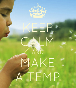 Poster: KEEP CALM AND MAKE A TEMP
