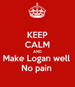 Poster: KEEP CALM AND Make Logan well  No pain