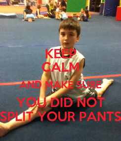 Poster: KEEP CALM AND MAKE SURE YOU DID NOT SPLIT YOUR PANTS