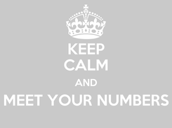 Poster: KEEP CALM AND MEET YOUR NUMBERS