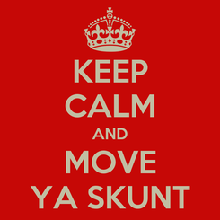 Poster: KEEP CALM AND MOVE YA SKUNT