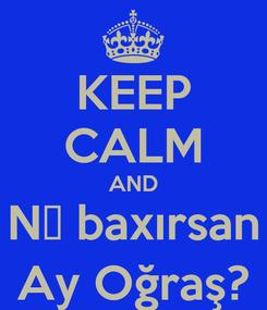 Poster: KEEP CALM AND Nə baxırsan Ay Oğraş?