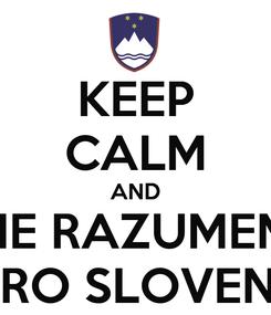 Poster: KEEP CALM AND NE RAZUMEM DOBRO SLOVENSKO