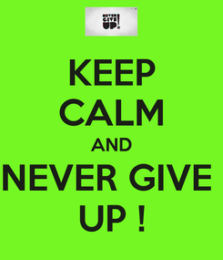 Poster: KEEP CALM AND NEVER GIVE  UP !