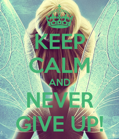 Poster: KEEP CALM AND NEVER GIVE UP!