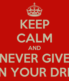 Poster: KEEP CALM AND NEVER GIVE UP ON YOUR DREAMS