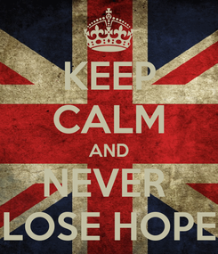 Poster: KEEP CALM AND NEVER  LOSE HOPE