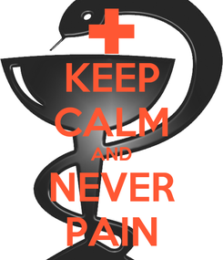 Poster: KEEP CALM AND NEVER PAIN
