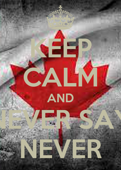Poster: KEEP CALM AND NEVER SAY NEVER