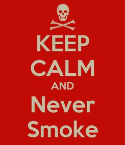 Poster: KEEP CALM AND Never Smoke
