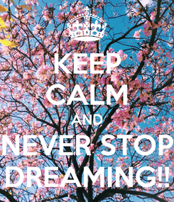 Poster: KEEP CALM AND NEVER STOP DREAMING!!