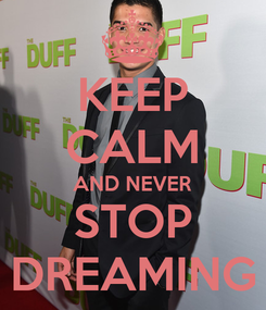 Poster: KEEP CALM AND NEVER STOP DREAMING