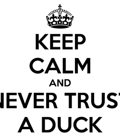 Poster: KEEP CALM AND NEVER TRUST A DUCK
