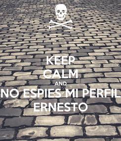 Poster: KEEP CALM AND NO ESPIES MI PERFIL ERNESTO
