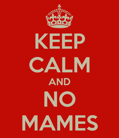 Poster: KEEP CALM AND NO MAMES