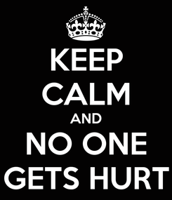 Poster: KEEP CALM AND NO ONE GETS HURT