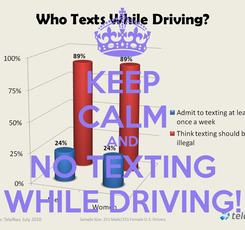 Poster: KEEP CALM AND NO TEXTING WHILE DRIVING!