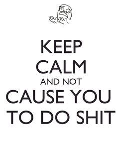 Poster: KEEP CALM AND NOT CAUSE YOU  TO DO SHIT