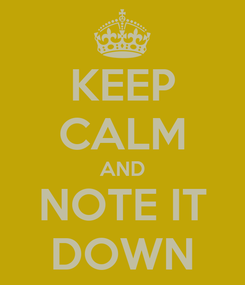 Poster: KEEP CALM AND NOTE IT DOWN