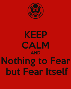 Poster: KEEP CALM AND Nothing to Fear  but Fear Itself