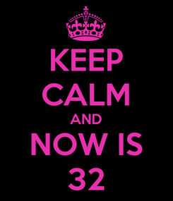 Poster: KEEP CALM AND NOW IS 32