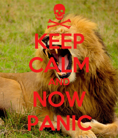 Poster: KEEP CALM AND NOW PANIC