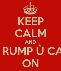 Poster: KEEP CALM AND NU RUMP Ù CAZZ ON