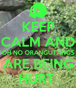 Poster: KEEP CALM AND OH NO ORANGUTANGS ARE BEING HURT