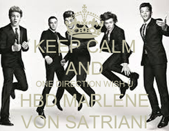 Poster: KEEP CALM AND ONE DIRECTION WISH U HBD MARLENE VON SATRIANI