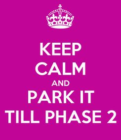 Poster: KEEP CALM AND PARK IT TILL PHASE 2