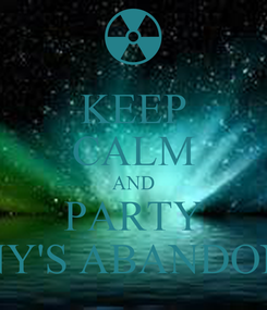 Poster: KEEP CALM AND PARTY TONY'S ABANDONED