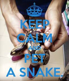 Poster: KEEP CALM AND PET A SNAKE.